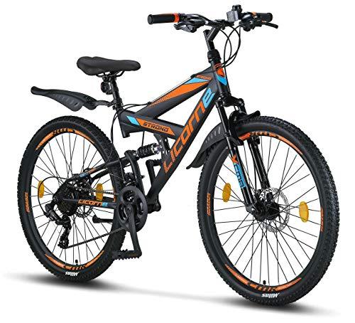 Licorne Bike Strong D Premium Mountainbike in 26 Zoll - Fahrrad für Jungen, Mädchen, Damen und Herren - Scheibenbremse vorne und hinten-Shimano 21 Gang-Schaltung-Vollfederung-Schwarz/Blau/Orange