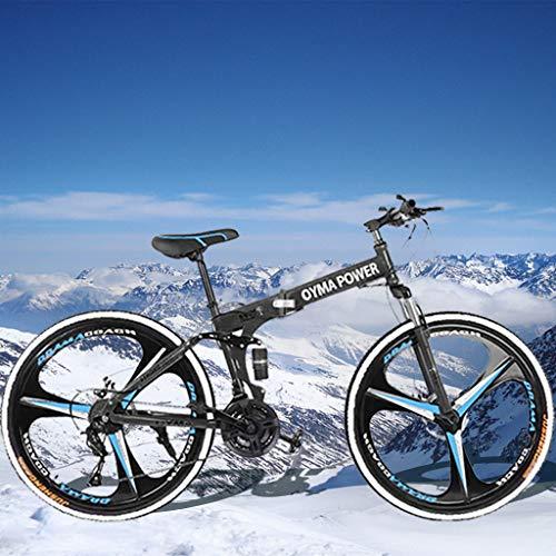 Hua 26 Inch Folding Mountain Bike with 21 Speed | Adults Bicycle Mountain Bike for Women Men | Dual Disc Brakes Full Suspension Non-Slip | US in Stock (Black)