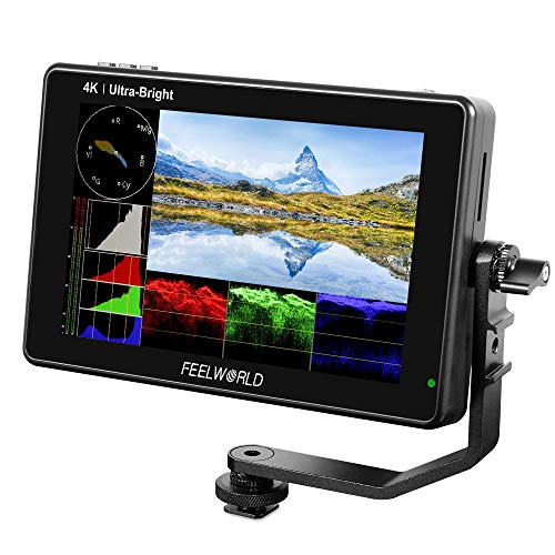 FEELWORLD LUT7 7 Inch Ultra Bright 2200nit Touch Screen Camera DSLR Field Monitor with 3D Lut Waveform Vectorscope Automatic LightSensor 1920x1200 Video Assist 4K HDMI Input 8.4V DC Output Tilt Arm