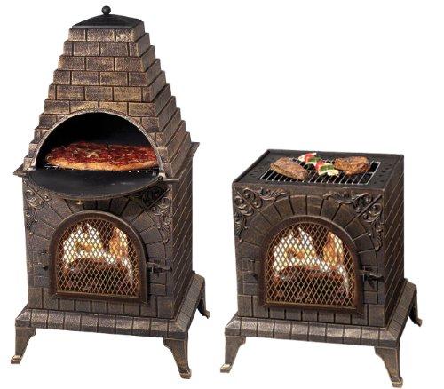 Price comparison product image Deeco DM-0039-IA-C Aztec Allure Cast Iron Pizza Oven Chiminea