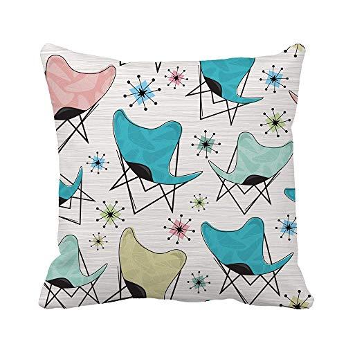 Not Applicable Kissenbezug, Pink Retro Butterfly Chair Pattern Bumerangs und Atomic Stars Kissenbezug Pflegeleichte Kissenbezüge 45x45cm