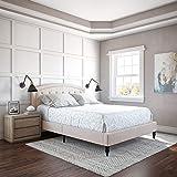 Classic Brands Wellesley Upholstered Platform Bed | Headboard and Metal Frame with Wood Slat Support, Queen, Linen