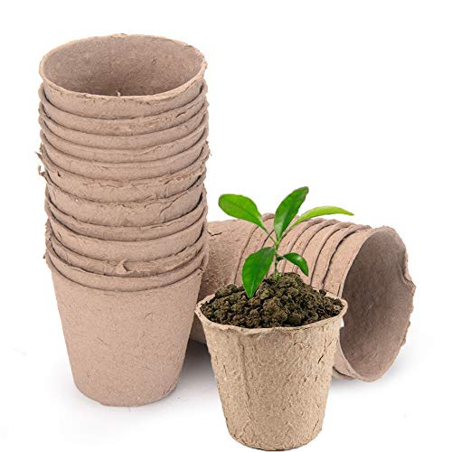 Macetas Biodegradables, 25 Piezas Biodegradables Macetas Pequeñas, Macetas Semillas Biodegradable, Macetas Iniciación Semillas, para Plantas de Jardín, Hierbas, Flores, Verduras