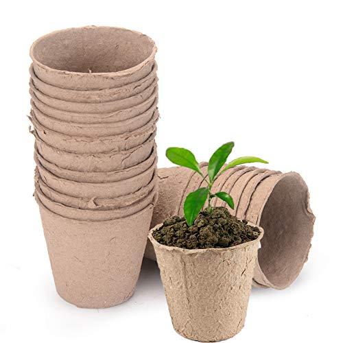 Macetas Biodegradables, 25 Piezas Biodegradables Macetas Pequeñas, Macetas Semillas Biodegradable,...