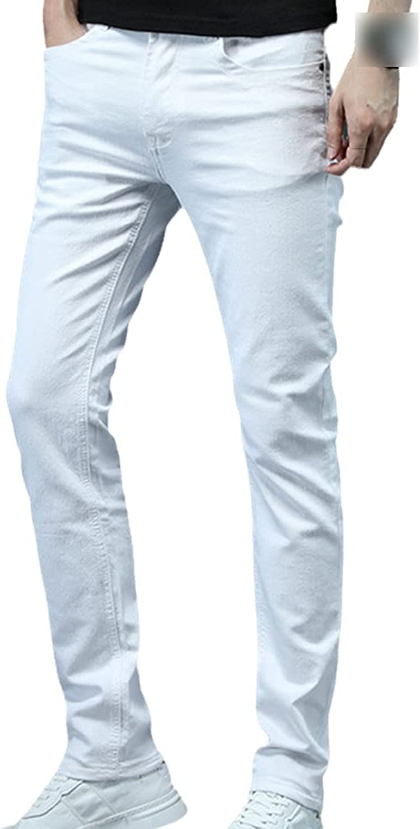 CACLSL Men's Skinny White Jeans Fashion Casual Stretch Cotton Slim fit