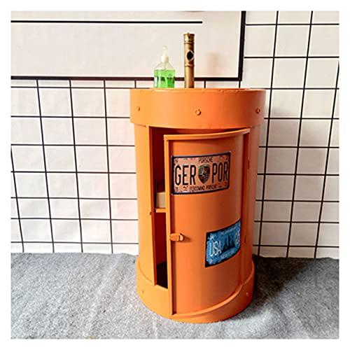 Retro Barra Mueble Lavabo Con Pie Estilo Industrial, Lavabo De Pedestal Baño Creativo Antiguo, Color Lavamanos De Columna Hierro Forjado Con Grifo De Un (Size:Sin espejo,Color:Naranja (estilo puerta))