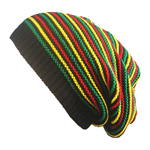 Gwxevce Unisex Crochet Wavy Feinstreifen Beanie Cap Regenbogen Jamaika Flagge Baggy Skull Hat