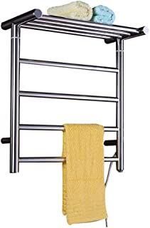 MIJOGO Eléctrico de Toallas montado en la Pared de Acero Inoxidable 304 Calentador de Toallas Accesorios de baño radiador toallero para el baño calentado Tendedero 8 Circle Bar Pulido de Acabado,A