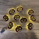 Cadena de Luces LED de Halloween Momia Bat Wizard Cadena de Luces de Calabaza Cadena de Luces Decorativas de Vacaciones, Bruja