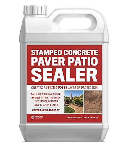 Stamped Concrete Paver Patio Sealer (Semi-Gloss) 1 Gal - #1 Easy Use Wet Look Acrylic Sealer for Driveways, Patios, Garage Floors, Walkways, Paver, and Other Concrete Surfaces - Protect Your Concrete
