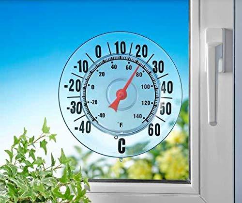 WENKO Außen-Thermometer Außenthermometer quecksilberfrei Außenthermometer groß Aussenthermometer ohne Quecksilber Außenthermometer mit Saugnapf Außenthermometer Design