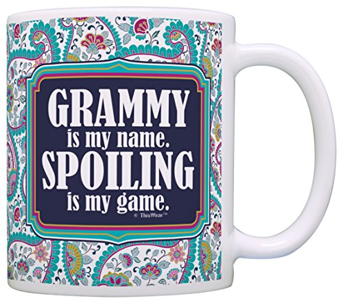 Gift for Grandma Grammy is my Name Spoiling is my Game Gift Coffee Mug Tea Cup Paisley