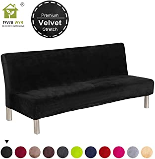 19V78 Luxury Velvet Sofa Bed Cover Black Armless Futon Cover Stretch Fabric Plush No Armrest Sofa Slipcovers Full Size Couch Cover (Black)