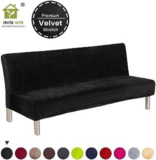 19V78 Luxury Velvet Sofa Bed Cover Black Armless Futon Cover Stretch Fabric Plush No Armrest Sofa Slipcovers Full Size Couch Cover (Black)