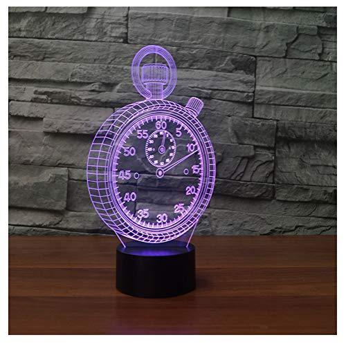 Hyvaluable 3D Taschenuhr Uhr Form 3D Lampe LED 3D Nachtlicht Bunte Tischlampe Als Baby Kind Spielzeug Geschenk -Spezial- & Stimmungsbeleuchtung