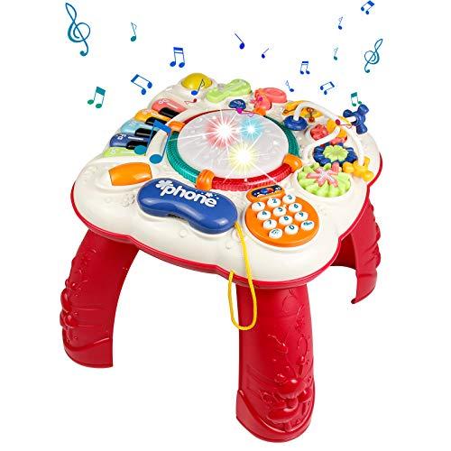 Symiu Baby Spielzeug Spieltisch 6 In 1 Baby Musikinstrumente für Kinder mit Trommel und Klavier Motorikspielzeug Lernspielzeug Geschenk für Baby ab 3 4 5 6 Jahre Mädchen und Junge
