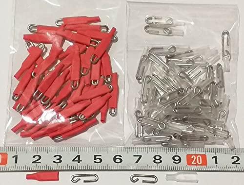 Enganches rápidos de Varilla Acero Inoxidable de 1,2mm Extra Fuertes, 50 Rojos y 50 Transparentes, Gancho Grapas Pesca.