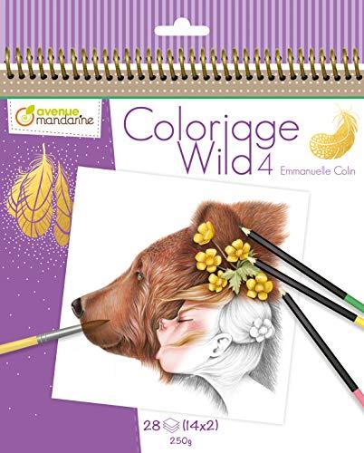 Avenue Mandarine GY093C - Sammelmalbuch Wild, Sortierung 4, aus Zeichenpapier 250g, mit mikroperforierten Blättern, 28 Blatt, 14 Zeichnungen x 29, ideal für Kinder ab 5 Jahren, 1 Stück