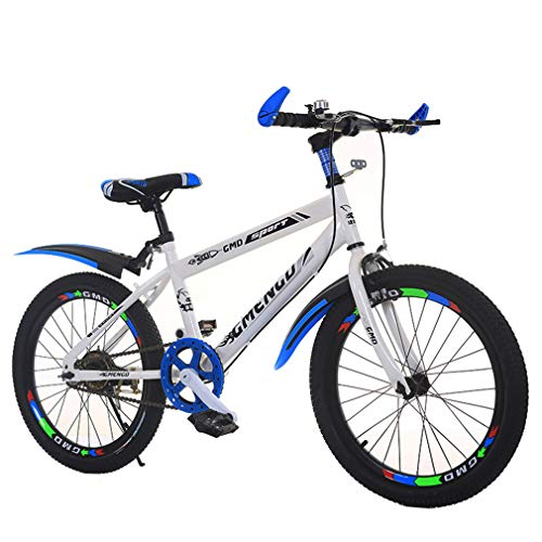 YUKM Single-Speed Children's Mountain Bike Bicycle, 20/22 Inch Wheels, Sensitive Front and Rear Brakes, High-Carbon Steel Frame, an Exclusive Vehicle for Childhood,White,22 inches