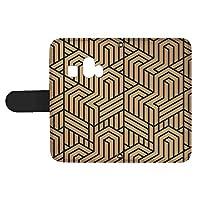 スマQ シンプルスマホ4 707SH 国内生産 カード スマホケース 手帳型 SHARP シャープ シンプルスマホフォー 【A.ベージュ】 トリックアート風 シンプル ami_vd-0274