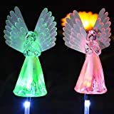 Homeleo 2 Pack Solar Angel Lights for Cemetery, Solar Powered Decorative Memorial Stake Lights for Memory Garden Graveyard Gravesite Grave, Angel Remembrance Gifts for Lost Loved Ones(Color Changing)