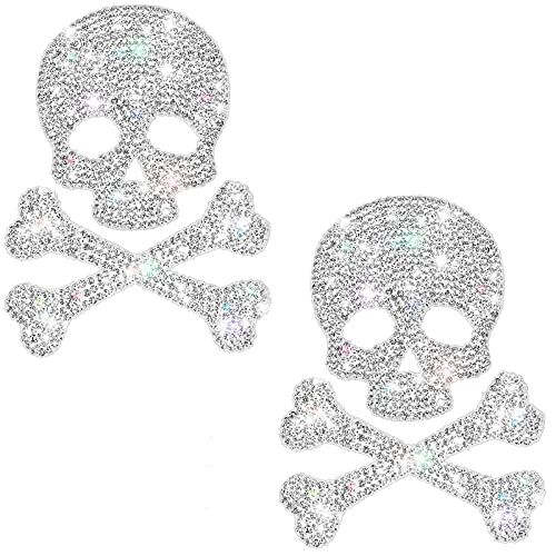 Frienda 2 Pieces Bling Skull Car Decals Skull Crystal Car Stickers Rhinestone Car Accessories Diamond Car Stickers Waterproof Bling Decors for Motorcycle Helmet Laptop Luggage Guitar