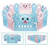 Besrey Baby Laufgitter Laufstall Baby Absperrgitter Krabbelgitter Schutzgitter für Kinder aus Kunststoff mit Tür und Spielzeug