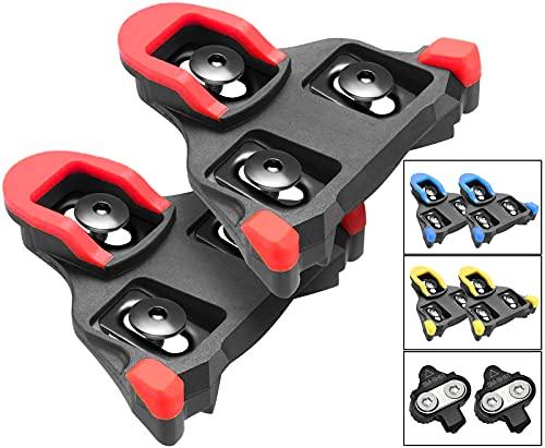 TacoBey - Juego de Pinzas para Bicicleta (Compatible con Shimano SPD SL SM-SH) (Rojo 0 ° Flotante)