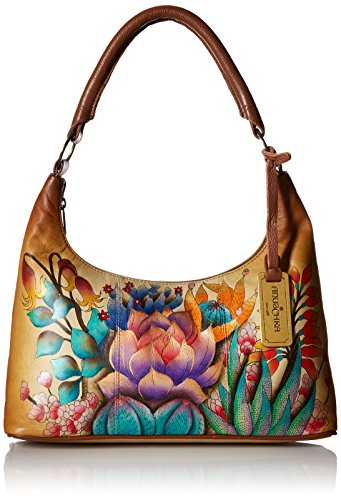 Anuschka Damen Hand Painted Leather Women's TOP Zip, handbemalte Leder Hobo-Tasche, medium, mit Reißverschluss, WüstenSonnenuntergang, Einheitsgröße