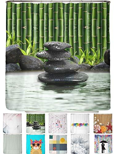 arteneur® - Bambus Spa - Anti-Schimmel Duschvorhang 180x200 - Beschwerter Saum, Blickdicht, Wasserdicht, Waschbar, 12 Ringe in Grün und E-Book mit Reinigungs-Tipps