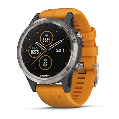 Garmin fēnix 5 Plus, Premium Multisport GPS Smartwatch, features Color Topo Maps, Heart Rate Monitoring, Music and Pay, Titanium with Orange Band