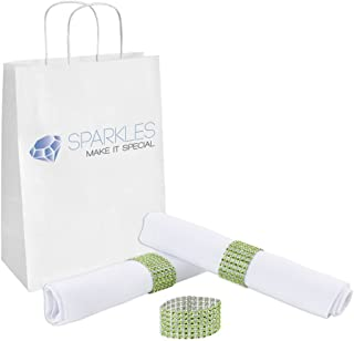 Sparkles Make It Special 10-pcs Rhinestone Diamond Napkin Rings - 19 Colors - Choose Your Quantity - Apple Green - Wedding Party Dinner Banquet Reception Special Event - Handmade Bling Decoration