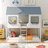 Twin Over Twin House Bunk Bed Wood House Bed with Roof, Window, Guardrail, Ladder for Kids, Teens, Girls, Boys (White)
