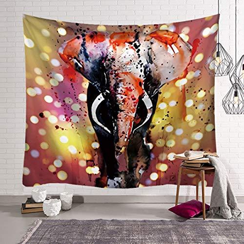 KHKJ Tapiz de Elefante de Perlas de Colores 3D Estilo Mosaico Hippie Tapiz Mandala cojín de Tela decoración de Sala de Estar A15 150x130cm