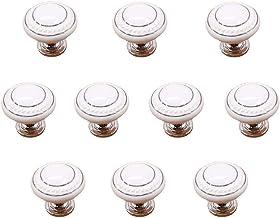 Handvatten Europese White Silver Ceramic handvat kabinet Modern eenvoudige ronde Shaft Hole zinklegering Geschikt for lade...