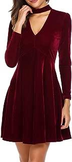 Dizzlle Women Choker V-Neck Velvet Dress Flare Long Sleeve Elegant A Line Dress