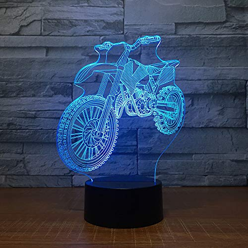 KangYD 3D Night Light Motocross Bike Shape, LED Optical Illusion Lamp, G - Mobile Phone Control Base, Touch LED, Decor Lamp, Atmosphere Lamp, Colorful Lights, Valentines Gift, Gift for Child