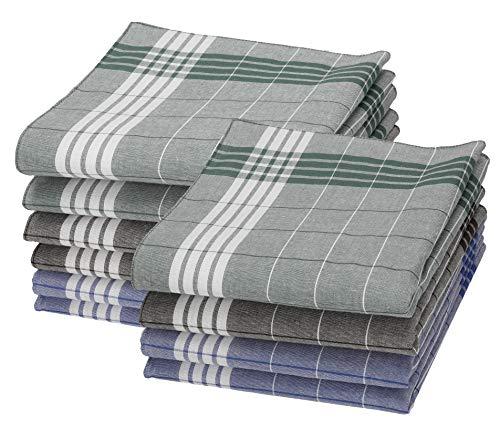 Betz Lot de 10 mouchoirs pour homme Arabias à carreaux vert, bleu et marron, taille: 40x40 cm en 100% coton