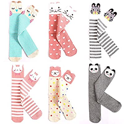 EIAY Shop Kids Cotton Socks Knee High Stockings Cute Cartoon Animals for 3-8 Year Olds (6 Pack)
