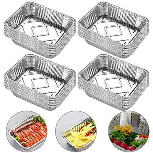 INTVN 20 Stück Aluschalen Grillschalen Aluminiumschalen, Lebensmittelbehälter | 700ml | 18.5 cm x 13.5 cm | Ideal zum Backen, Braten und Kochen