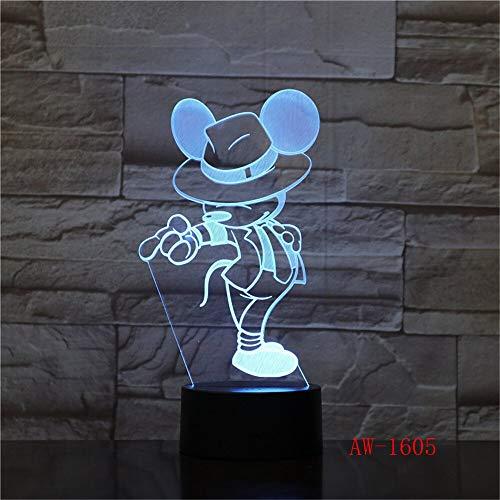 Solo 1 pieza Mouse Gentleman Cartoon 3D LED Night Light Novedad Lámpara de mesa Cumpleaños Navidad Niños Niños