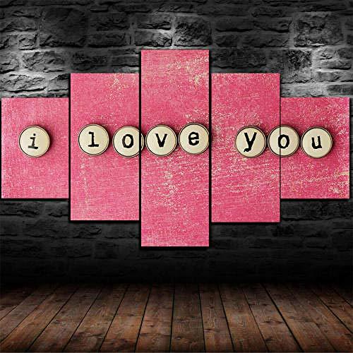 5 Piezas Lienzo Pintura,5 Paneles Cuadros,Impresión HD,Modular Póster,Decoración Hogareña,Mural Abstracto,Regalo,125X60Cm,Te Amo Regalo Romance,con Marco