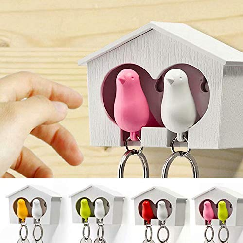 XiZiMi Farbe zufällig kreative Schlüssel Anti-verlorene Gerät Schlüssel Haken Paar Vogelhaus Schlüsselbund Spatzenhaus Schlüsselring Kettenwand Random color