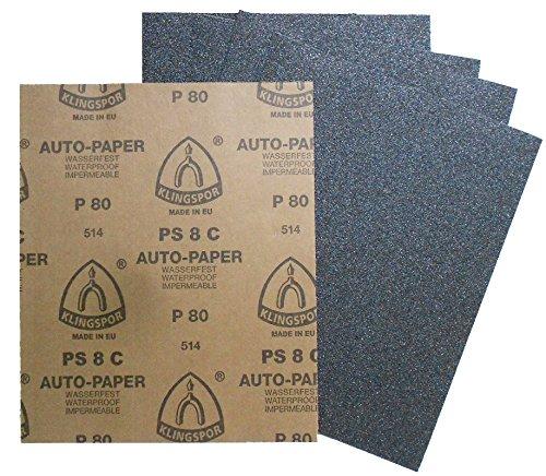 50 Stück Klingspor Auto-Paper Nassschleifpapier PS8C | wasserfest | 230 x 280 mm | Körnung nach Wahl (P100)