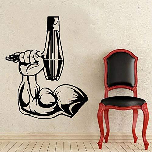 Tianpengyuanshuai Friseur Fön Vinyl Wandtattoo Friseursalon Muskel Männer Hand Wandaufkleber Art Deco Wandbild 34X42cm