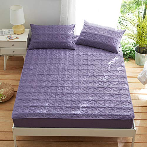 JRDTYS Deep Fitted Sheets Microfiber Bed Sheets, Ultra Soft Silky Smooth and Wrinkle-ResistantCotton padded bedspread-purple_135*200