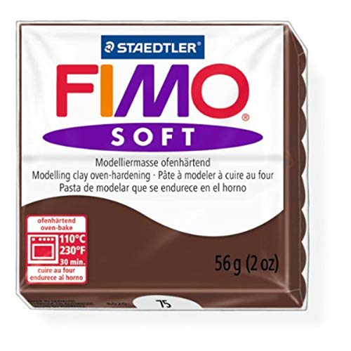 (1 Pack) - Staedtler Fimo Soft Chocolate (75) Oven Bake Modelling Clay Moulding Polymer Block Colour 56g (1 Pack)