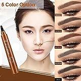 4 Puntos eyebrown Pen Microblading lápiz de ceja Tint Pen tatuaje cejas Paint maquillaje resistente al agua de ojo cosmética frente Liner
