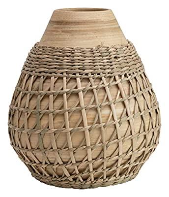 Creative Co-op Bamboo Seagrass Weave Vase, Beige