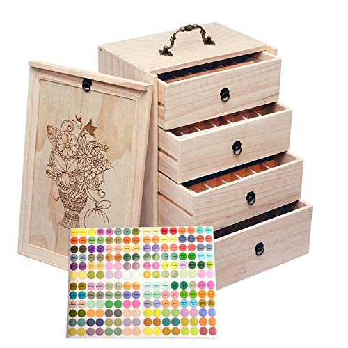 Travel 112 Slot Essential Oil Storage Box - Removable Dividers Fits...
